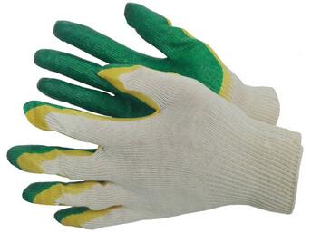 Перчатки х/б с двойным латексом 10кл, зеленый
